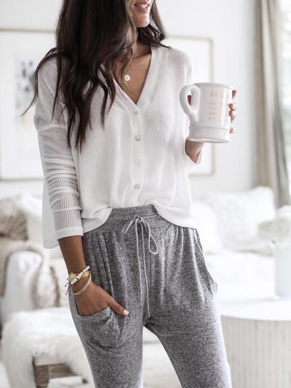 White dresses ideas with sweatpant, pajamas, blouse