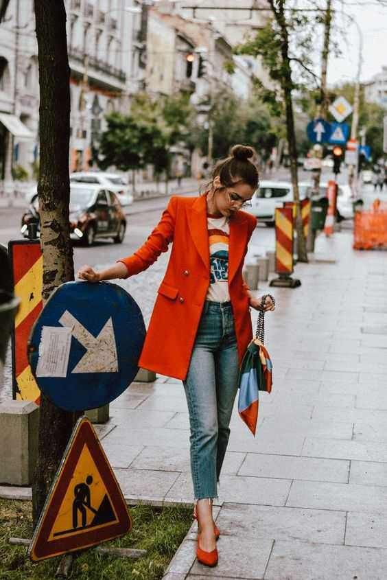 Outfit ideas orange blazer outfit high heeled shoe, street fashion