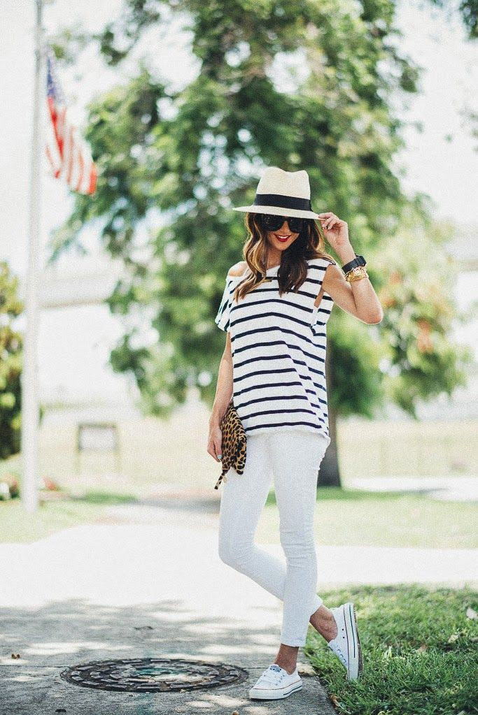 Green and white outfit ideas with trousers, fedora, denim