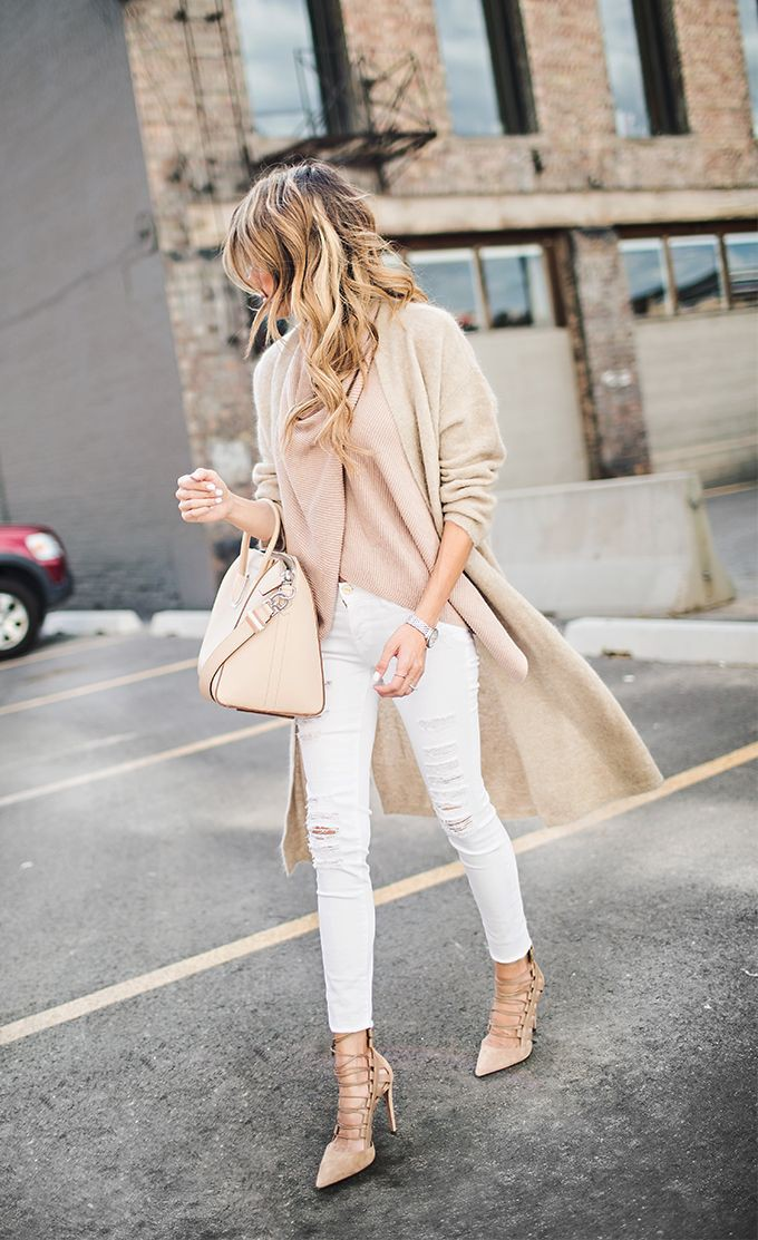 White and pink colour outfit, you must try with jeans, coat
