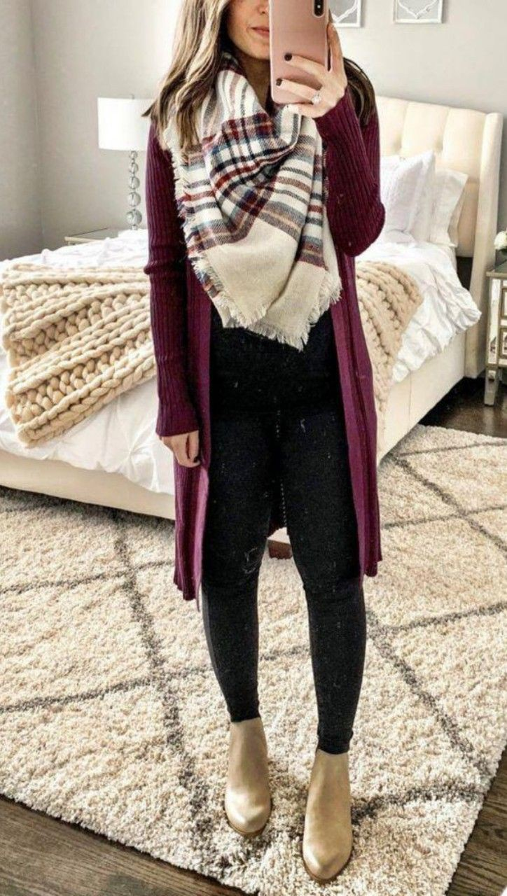 Purple trendy clothing ideas with trousers, sweater, tartan