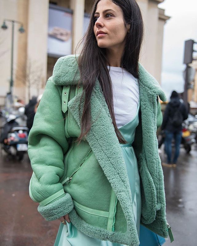 Style outfit mint shearling coat, winter clothing, leather jacket, shearling coat, street fashio ...