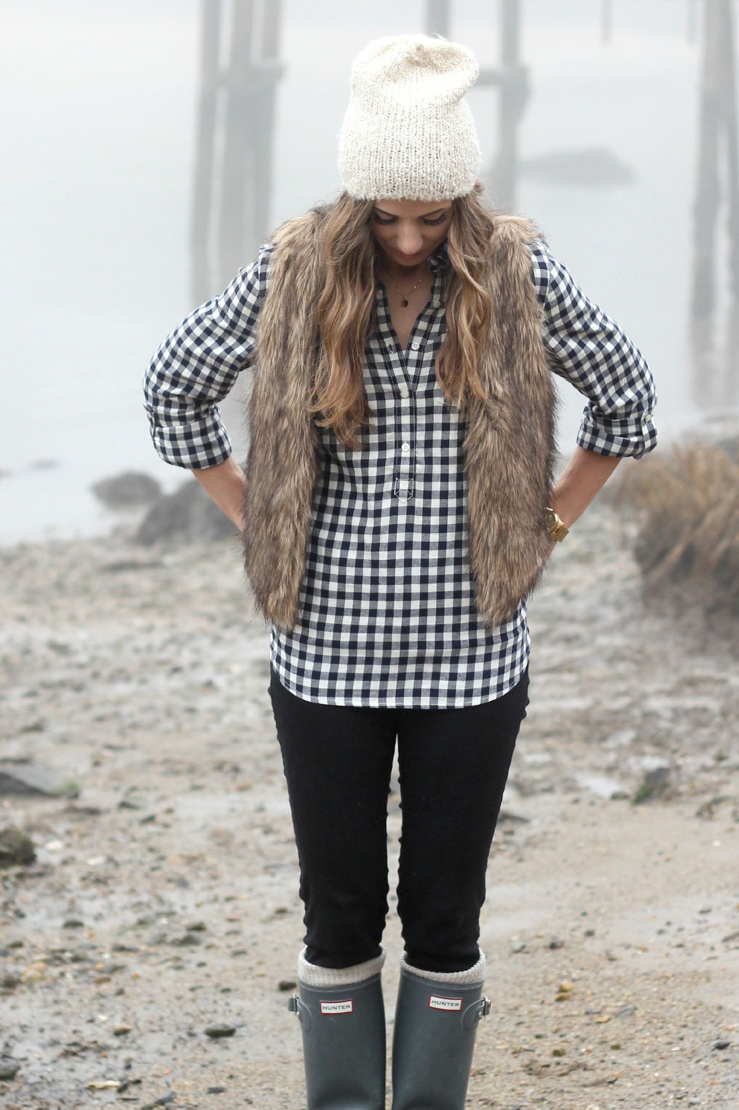 Black and white plaid shirt outfit