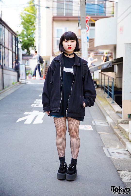 Outfit harajuku black style japanese street fashion, alternative fashion