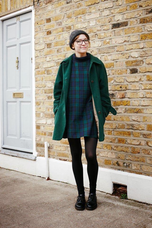Turquoise and green colour ideas with trousers, overcoat, tartan