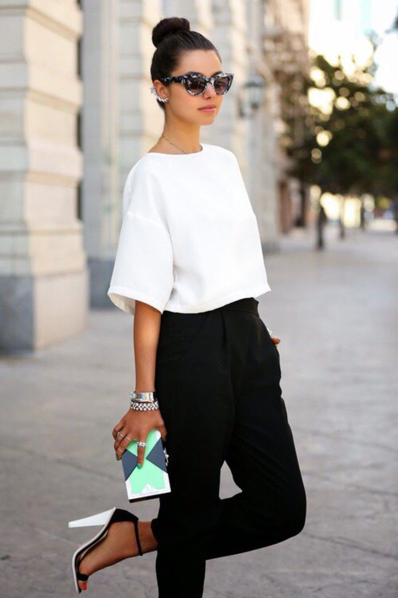 Outfit ideas white tops fashion black and white, street fashion
