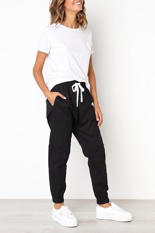 Drawstring pants womens outfit ideas