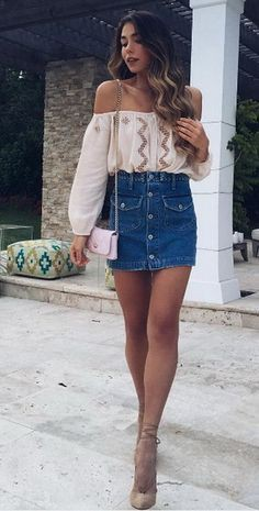 Brown colour combination with jean short, shorts, skirt