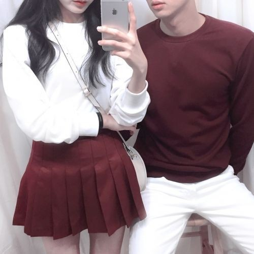 Korean couple outfit ideas, korean language, long hair