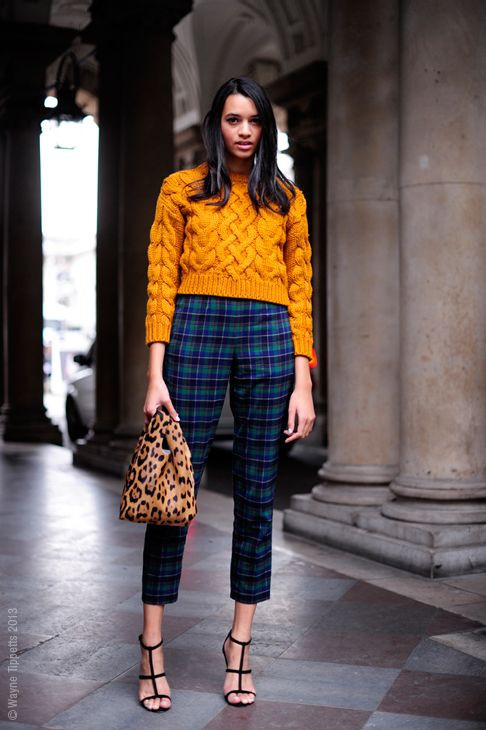Yellow and orange outfit style with fashion accessory, sweater