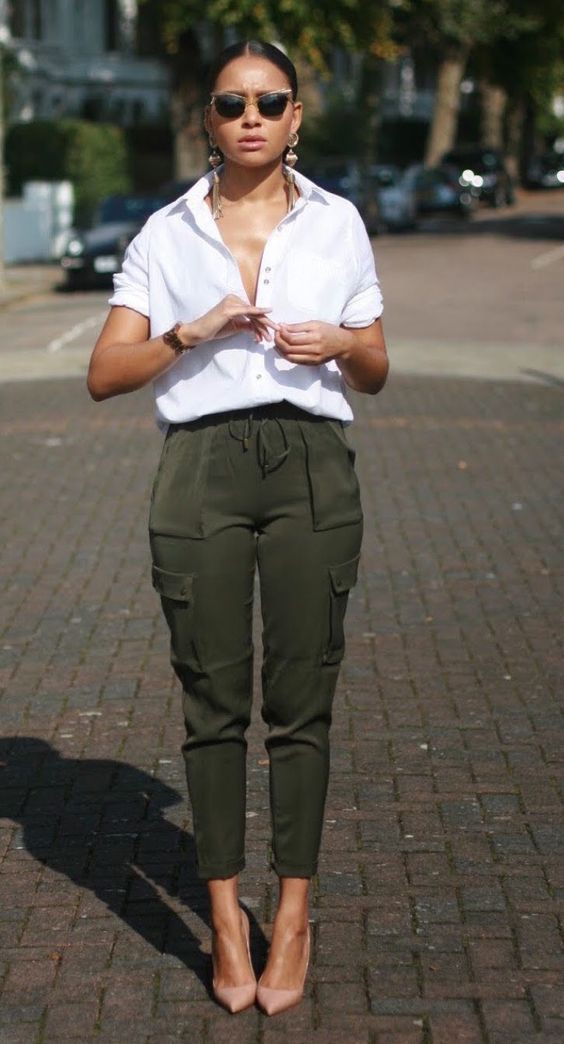 Green khaki pants womens outfit