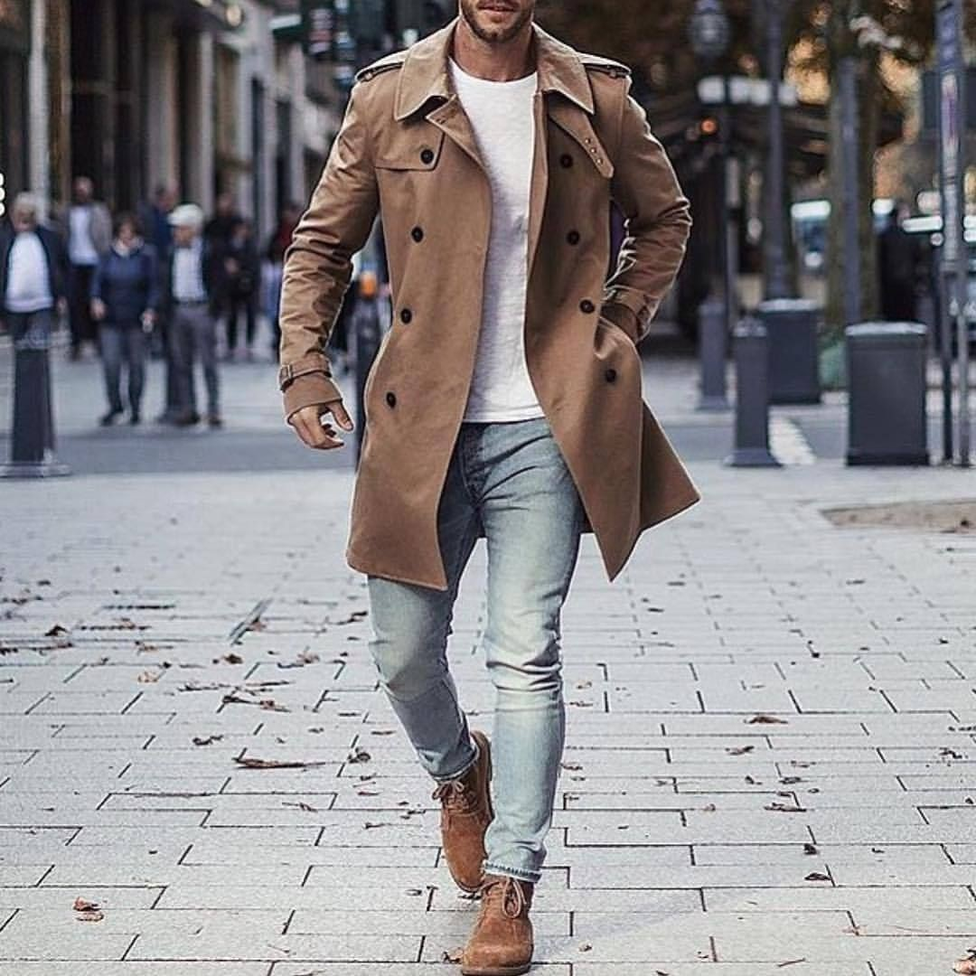 Trench coat style men, double breasted, street fashion, casual wear, trench coat, pea coat, t shirt