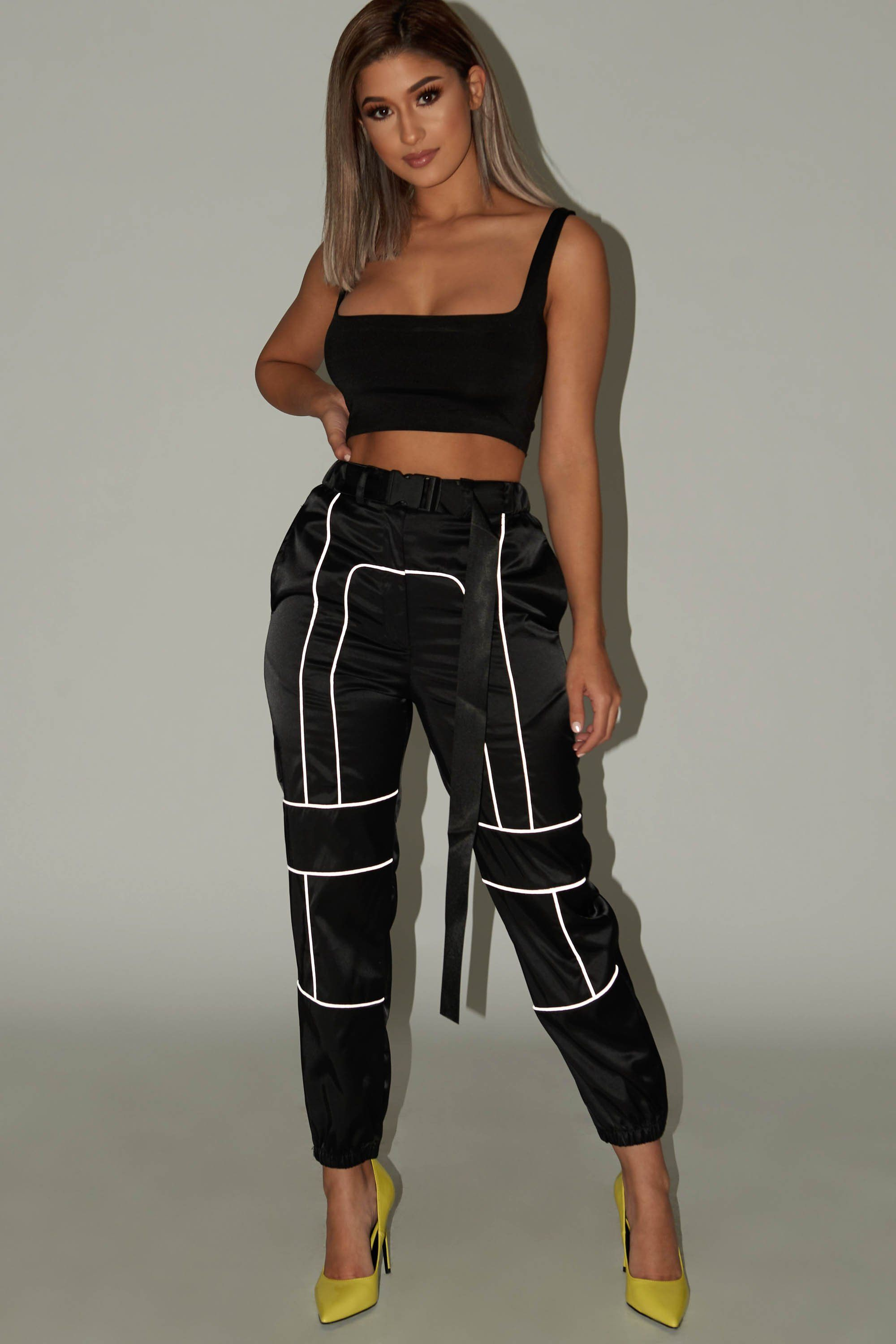 Reflective pants outfit ideas, cargo pants