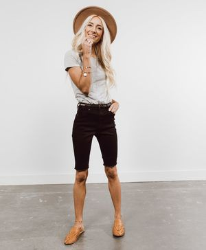 White outfit ideas with bermuda shorts, shorts, denim