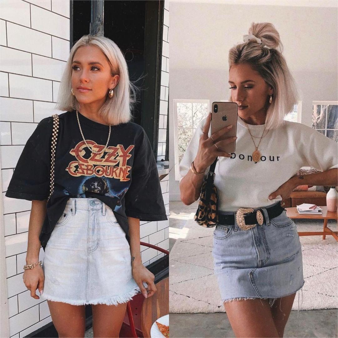 Outfit instagram american style kleding, street fashion, casual wear, denim skirt, jean short, c ...