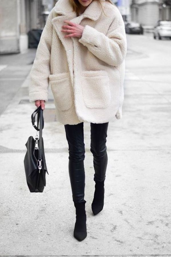 Colour combination wear teddy coat, street fashion, fur clothing, sherpa coat