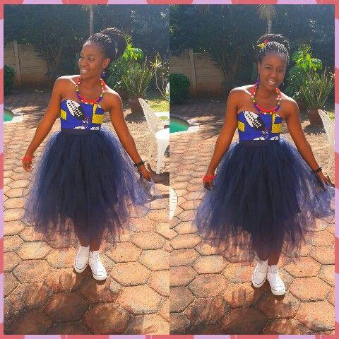 Tutu skirt with african print top