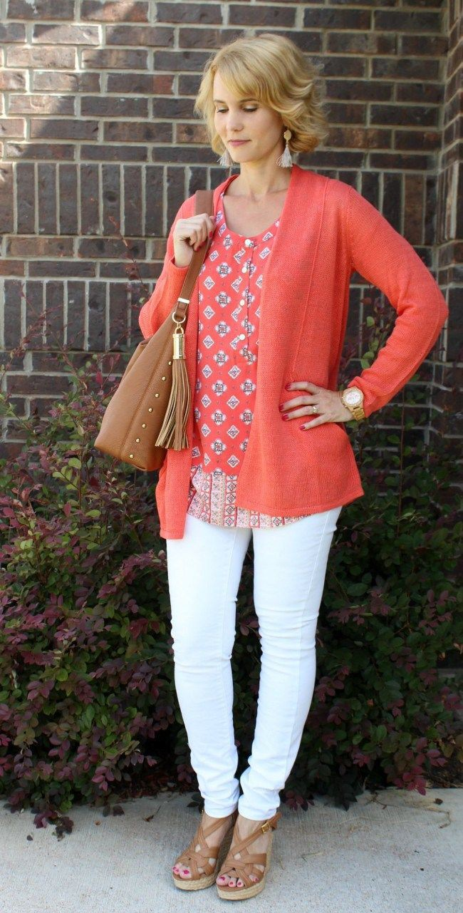 Orange and white colour dress with polka dot, blazer, jeans