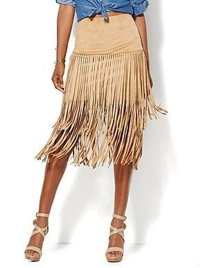 Fringe suede skirt new york and company