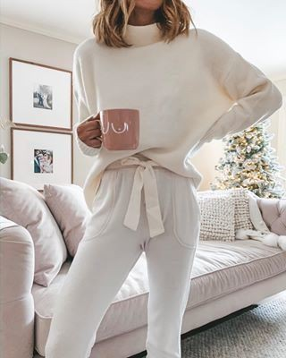 Beige and white outfit Stylevore with nightwear, crop top, sweater