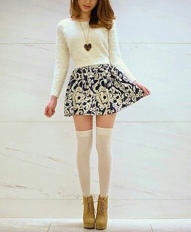 Cute knee high socks outfits white