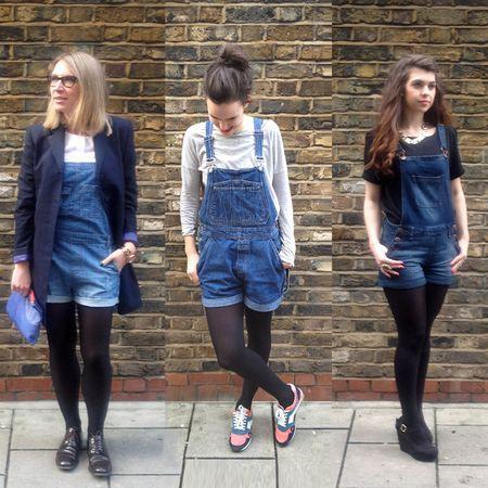 Overol corto con mallas, street fashion, electric blue, casual wear