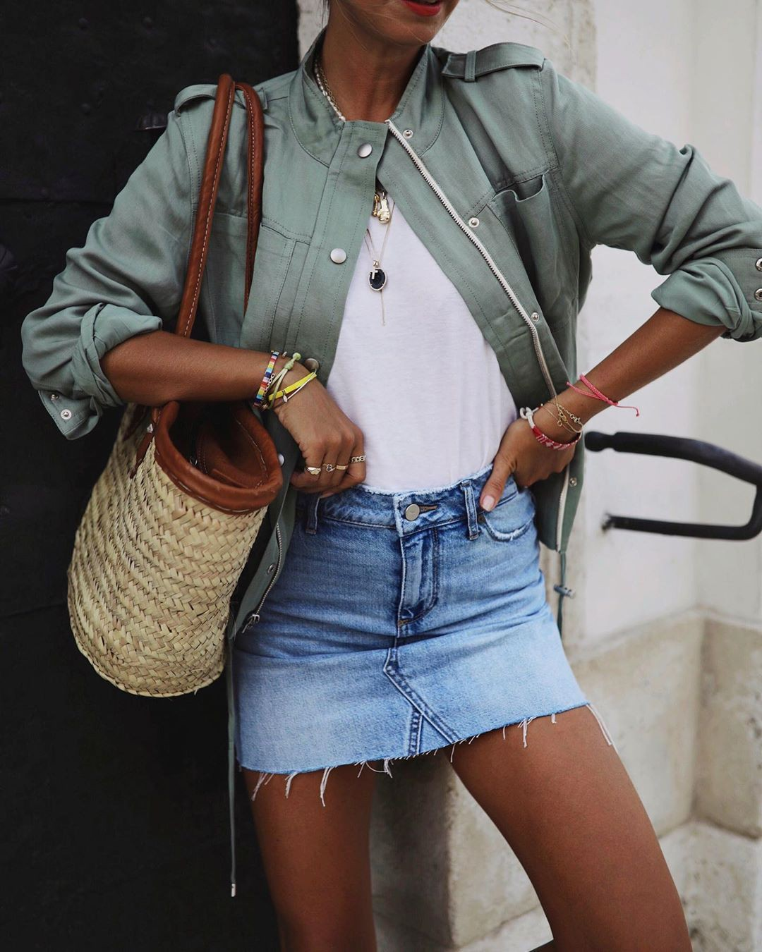 Classy outfit with miniskirt, jacket, shorts