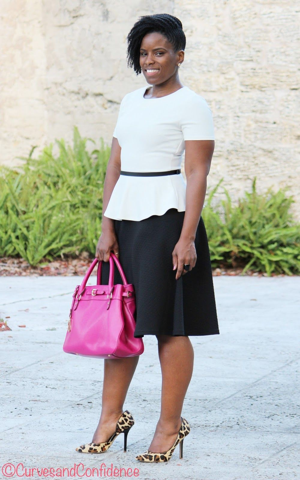 White and pink outfit style with business casual, pencil skirt, trousers, jeans
