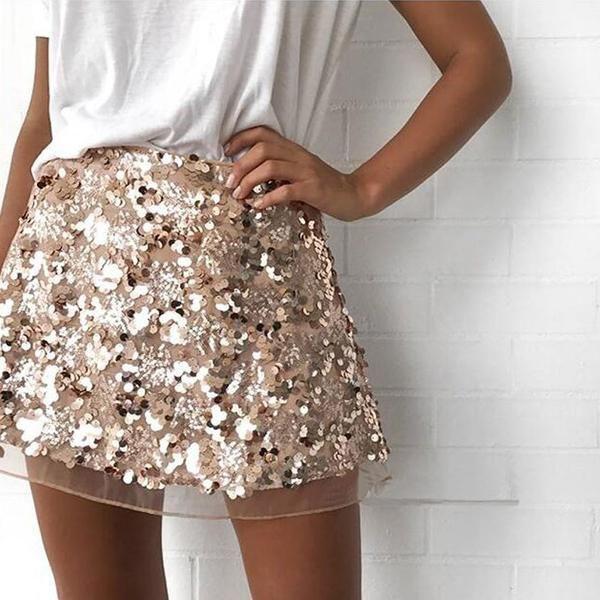 Gold sequin mini skirt high waist