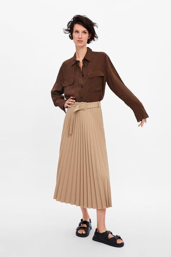 Zara pleated skirt with belt