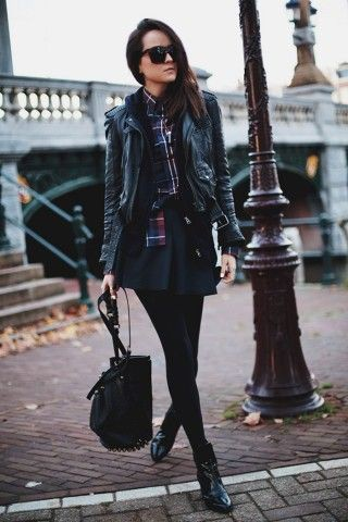 Beautiful clothing ideas with leather jacket, dress shirt, leather