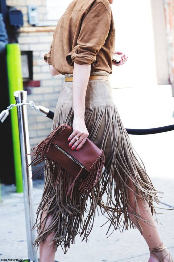 Brown colour outfit, you must try with leather, skirt