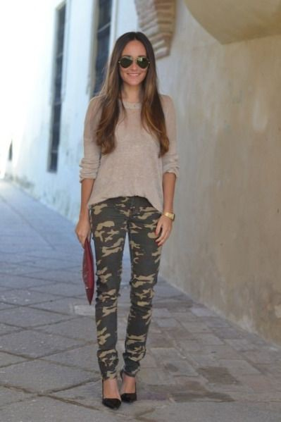 Cream sweater with camo pants