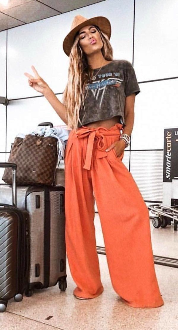 Orange and brown outfit Pinterest with jeans