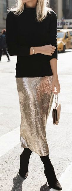 Sequin skirt party outfit, street fashion, fashion model, sequin skirt, casual wear, polo neck