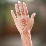 Elaborate Back of Hand Henna Stencil