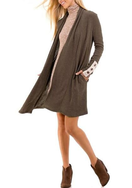 Taupe Shawl Collar Open-Front Knit Cardigan   Summer Outfit Ideas 2020