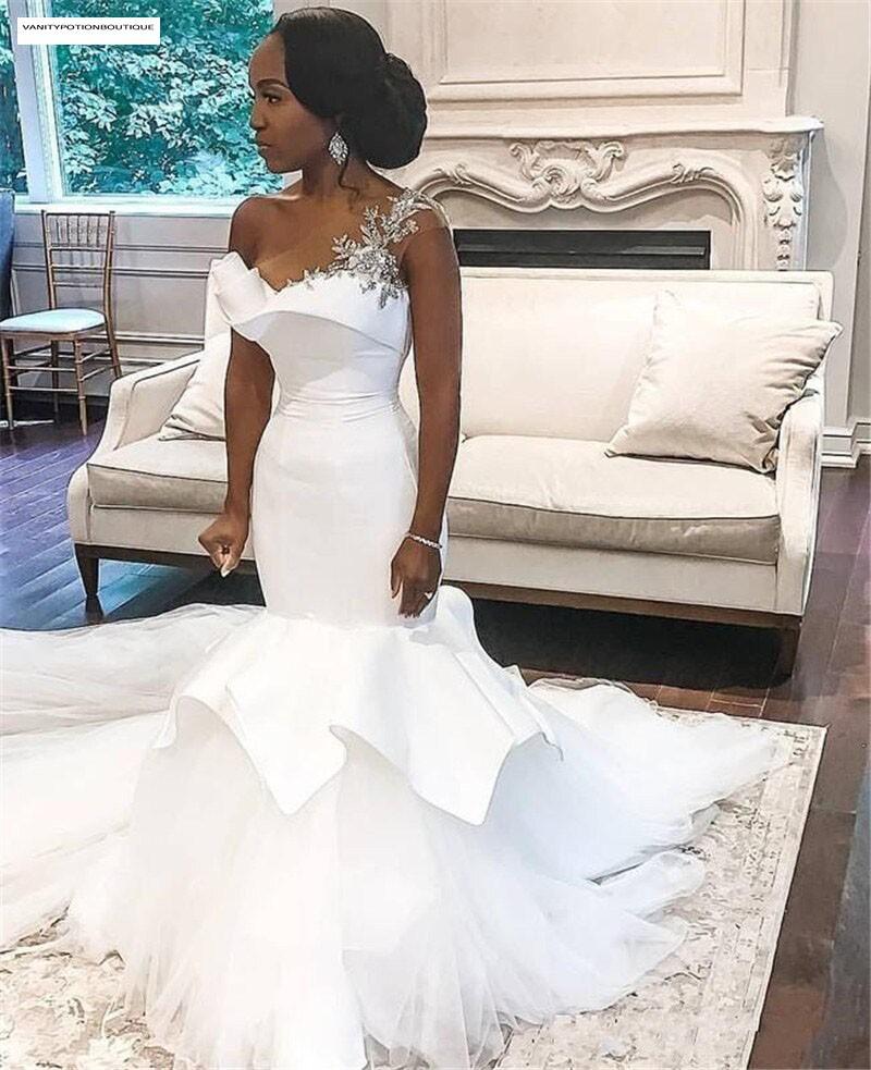 ONE-SHOULDER MERMAID BEADED LACE UP WEDDING DRESS ...
