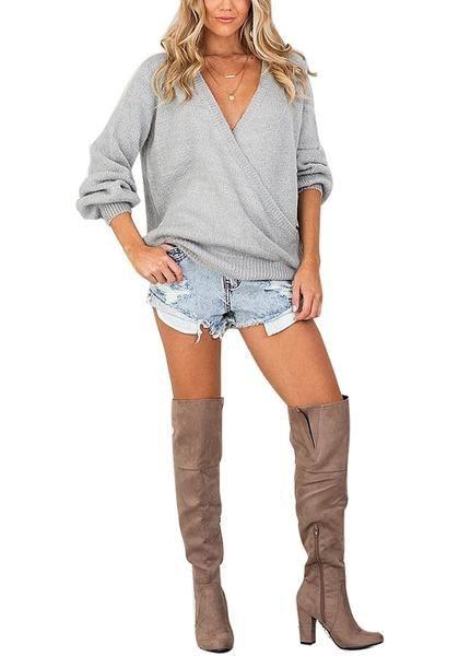Light Grey Lantern Sleeves Surplice Sweater   Summer Outfit Ideas 2020