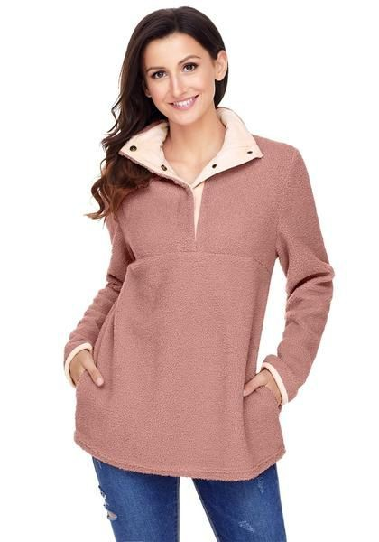 Old Rose Button-Front Fleece Pullover | Summer Outfit Ideas 2020