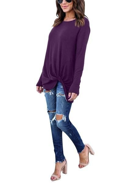 Purple Front Twist Knot Long Sleeves Crew Neck  Blouse | Summer Outfit Ideas 2020