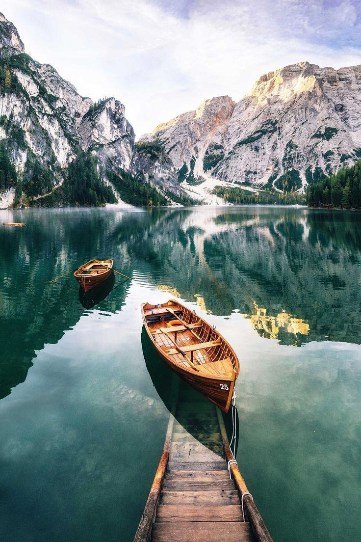 Braies lake in dolomites, water transportation, natural landscape, pragser wildsee, mountain range