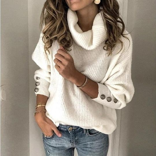 White outfit style with trousers, sweater, hoodie