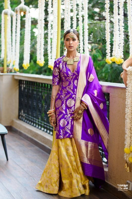 Magenta and yellow instagram fashion with gown, formal wear, sari
