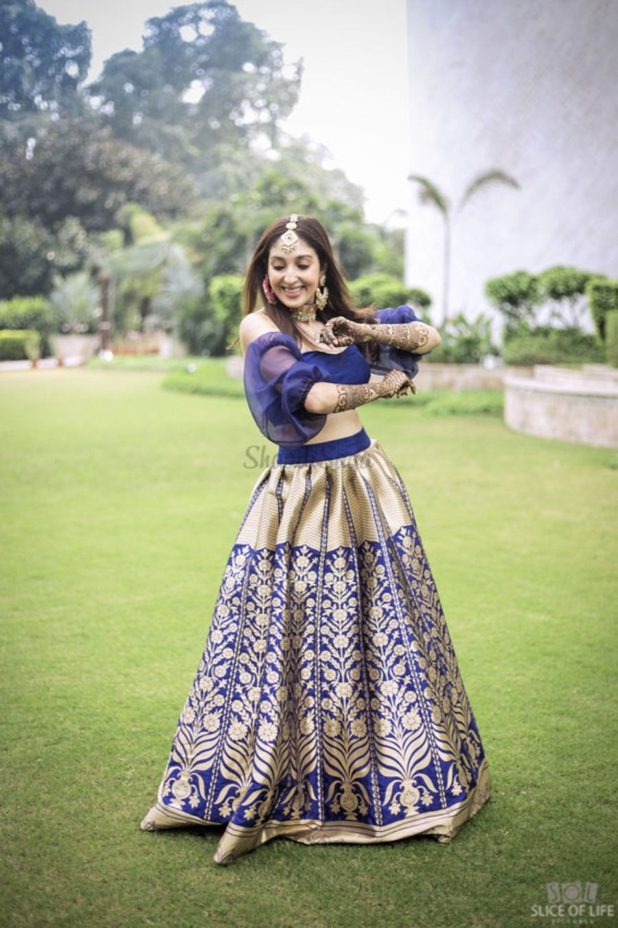 Off shoulder banarasi lehenga, banarasi sari, ghagra choli, blue lehenga, photo shoot, formal wear