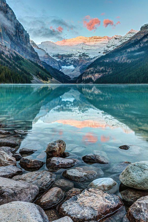 Dawn at lake louise body of water, mountainous landforms