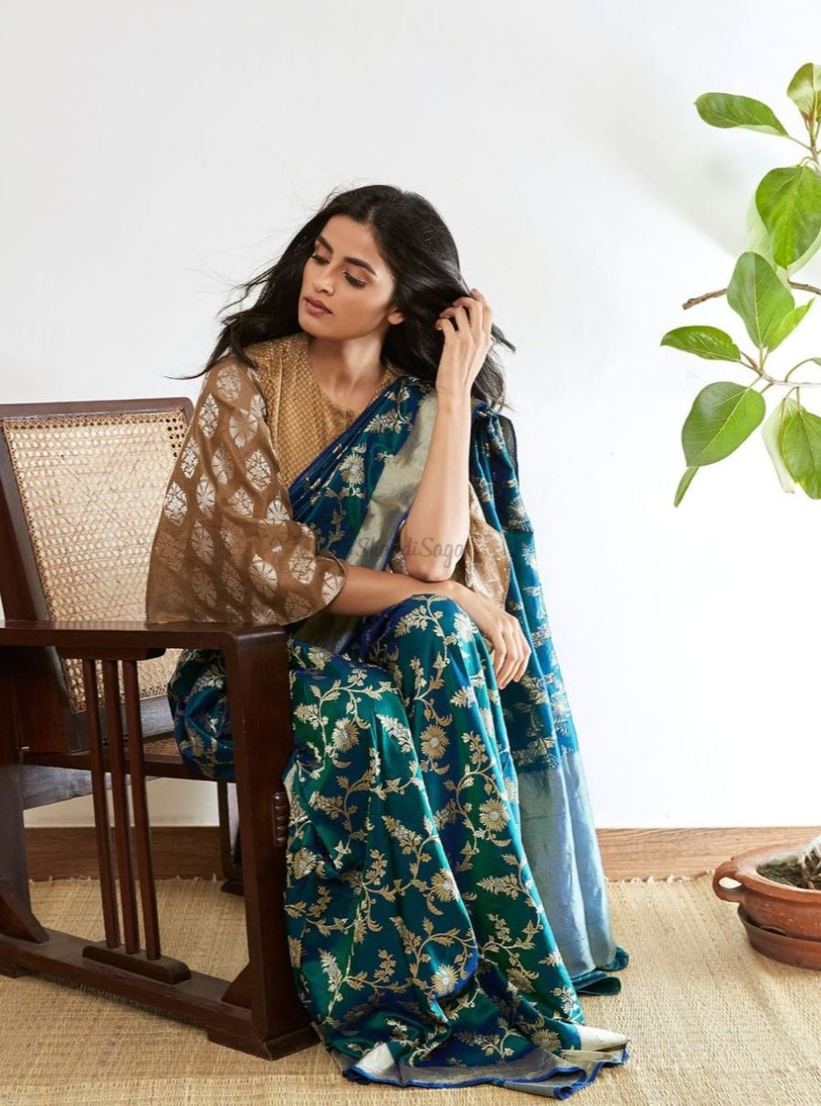 Green colour combination with formal wear, sari
