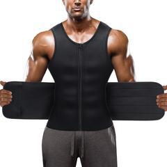 Black Hot Neoprene Sauna Front Zipper Tank Top With Adjustable Velcro for Men – Nebility